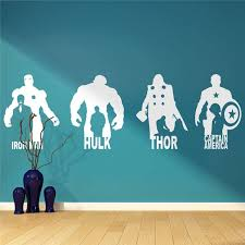 The Avengers Vinyl Wall Murals Superhero Iron Man Hulk Wall Decal Boys Room Decor Thor Captain America Character Sticker Aj647 Wall Stickers Aliexpress