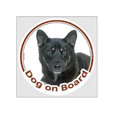 Sticker Circle Sticker Dog On Board 15 Cm Black And Tan Shiba Inu Head