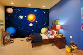 Colourful Solar System Mural Wallpaper Wallsauce Uk Space Themed Bedroom Outer Space Bedroom Bedroom Themes