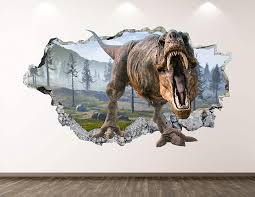 Amazon Com West Mountain Wild Dinosaur Wall Decal Art Decor 3d Smashed T Rex Sticker Poster Kids Room Mural Custom Gift Bl380 22 W X 14 H Home Kitchen