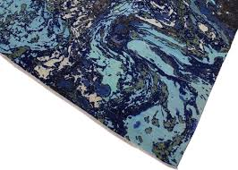 modern abstract slater blue ivory wool