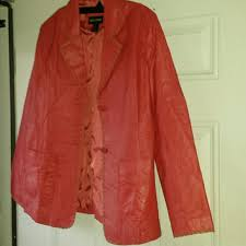 pinkish red leather jacket