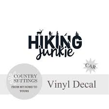 Hiking Junkie Car Decal Hiking Stickers Camping Decals Etsy
