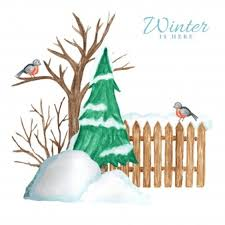 Wooden Fence In Winter With Snow Christmas Tree And Bullfinch Bird Couple And Snowdrifts Premium Vector