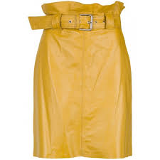 rider women yellow belted leather skirt