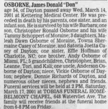 Obituary for James Donald OSBORNE (Aged 54) - Newspapers.com