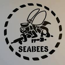 Seabee Stencil Vinyl Decal Left Facing