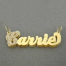 14k gold double plate cursive name