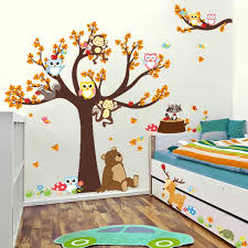 Cute Monkey Owls Tree Jungle Animals Wall Stickers Decal Kids Funny Room Decor Mural Home Decor Hot Wish