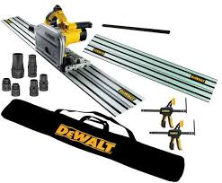 Dewalt Dws520kr 240v Plunge Saw 2 X 1 5m Rails Connector Guide Rail Bag Pair Of Clamps Dwv9220 Kit Dewdws520krav At D M Tools