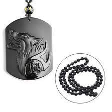 black obsidian wolf head lucky pendant