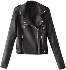 faux leather jacket cropped lapel