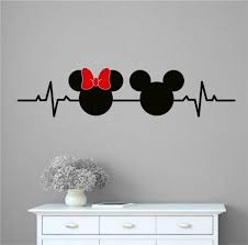 Oakwooddecals Mickey And Minnie Mouse Inspired Heartbeat And Bow Vinyl Words Wall Decal Wayfair