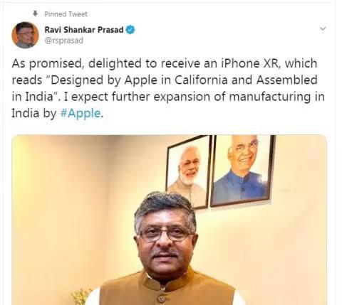 """Image result for ravi shankar prasad tweet iphone xr"""""""