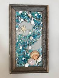glass and starfish in barnwood frame