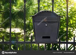 Black Iron Mailbox Mounted Metal Fence Green Plan Green Trees Stock Photo C Bespaliya 292476608