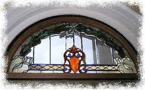 stained glass window above center front
