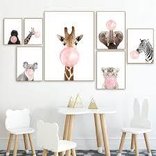 Delightful Cute Animals Blowing Bubblegum Bubbles Nursery Wall Art Prints Nordicwallart Com
