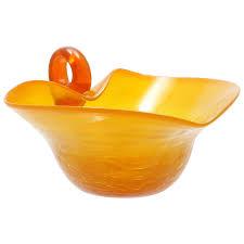 flame orange le glass bowl hand