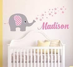 Amazon Com Personalized Elephant Name Wall Decal Elephant Baby Room Decor Nursery Wall Decals Elephant Bubbles Vinyl Sticker For Girls 70 W X 26 H Toys Games