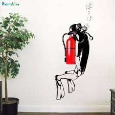 Scuba Diving Wall Decal Nautical Office Decor Idea Fire Extinguisher Vinyl Sticker Marine Deep Sea Diving Removable Mural Yt1174 Wall Stickers Aliexpress