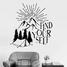 Find Your Self Wall Decal Decor Living Room Inspirational Quotes Nature Motivation Vinyl Wall Stickers For Study Room Art W745 Wall Stickers Aliexpress