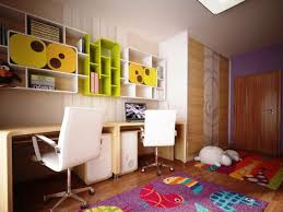 Kids Room Modern Plywood Study Table With Colourful Book Selvhing And Laminate Floors Also White Childrens Bedrooms Design Kid Room Decor Kids Bedroom Designs