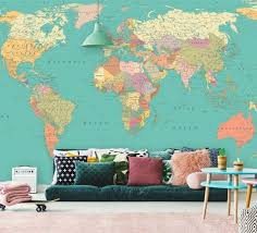 World Map Wall Mural In Pastel Bright Colors Detailed Map Etsy