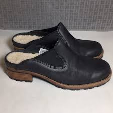 ugg shoes parker black leather mules