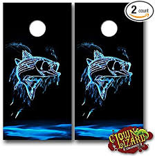 Amazon Com Cl0058 Flaming Fish Cornhole Laminated Decal Wrap Set Decals Board Boards Vinyl Sticker Stickers Bean Bag Game Wraps Vinyl Graphic Tint Fishing Deep Sea Bass Trout Hunting Sports Outdoors