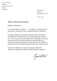 lettre de rétractation achat immobilier