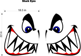 Amazon Com 22 Tall Boat Decals Shark Eyes Quality Motor Home Rv Camper Trailer Hauler Stickers Graphics Kitchen Dining
