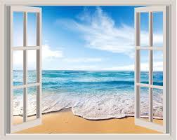 3d Vinyl Beach Scene Print Vinyl Wall Decal Vinyl 3d Window Scene Vinyl Home Decor 3d Window Decal Beach Wall Murals Beach Mural Wall Stickers Bedroom