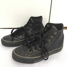 converse shoes leather black high top