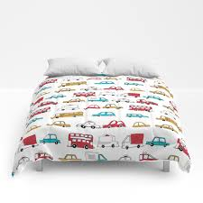 Cars Trucks Buses City Highway Transportation Illustration Cute Kids Room Gifts Comforters By Andrealaurendesign Society6