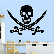 Door Sign Pirate S Skull And Cross Bones Kids Room Art Decor Vinyl Wall Decal