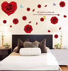 Amazon Com Bibitime Heart Red Rose Wall Decal Blooming Flower Flying Butterlies Art Sticker My Heart Is With You Love Without End Hath No End Sayings Quotes For Bedroom Living Room Home