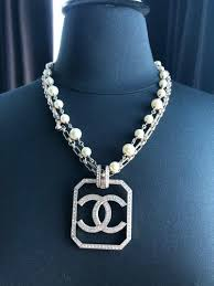 chanel cc pendant crystal double chain