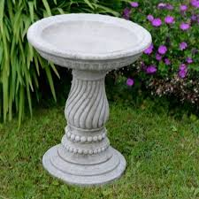 twist bird bath feeder hand cast stone