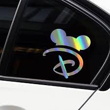 Amazon Com Kanwawo Laser Creative Sticker Fashion Disney Decal Disney Letter D Mouse Ears Disney World Decal Car Truck Automotive Window Decal Bumper Sticker Car Styling 2pcs Mouse Ears 155 X 140 Mm Arts