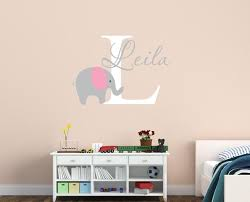 Customized Name Elephant Wall Decal For Kids Girls Boys Baby Room Wallpaper Home Decals Decor Vinyl Mural Wall Stickers S 328 Elephant Wall Decal Name Wall Decalswall Decals Aliexpress