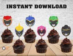 Power Rangers Cupcake Toppers Power Rangers Birthday Power Etsy