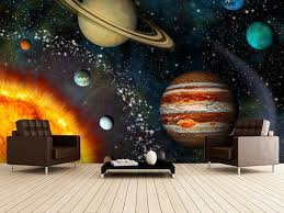 3d Solar System Wall Mural Wallsauce Uk Space Themed Room 3d Solar System Wall Murals