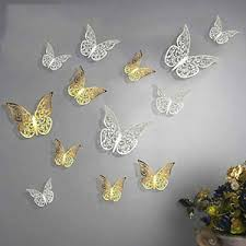Gold Silver 3d Butterfly Wall Stickers Art Decals Home Room Decorations Diy Ebay