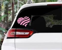 Heart Flag Decal Stickerloveamericausacar Accessoriescar Etsy