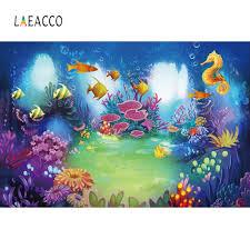 Laeacco الطفل الكرتون الأسماك نافذة المرجان فقاعة تحت الماء المحيط