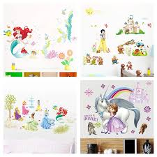 Snow White Sofia Mermaid Rapunzel Cinderalle Belle Ariel Princess Wall Stickers Home Decor Kids Room Decals Cartoon Mural Art Wall Stickers Aliexpress