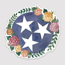 Tennessee Tri Star Watercolor Vinyl Decal Tennessee Sticker With Flowers Tennessee Floral Decal Tri Star Car Sticker Star Vinyl Floral Decal Vinyl Sticker