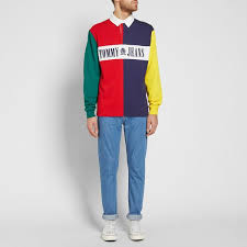 tommy jeans 90s colour block rugby