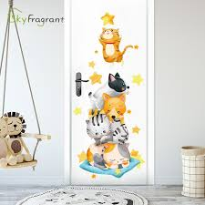 Hot Deal Feac6c Creative Wall Sticker Cartoon Cute Cat And Dog Door Decor Wall Decor Kids Room Decoration Home Decor Self Adhesive Stickers Cicig Co